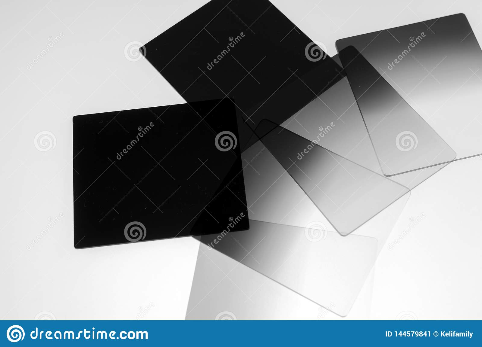 Neutral density and graduated neutral density filters used in camera for photography