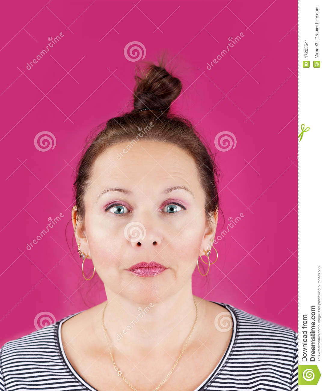 Neutral face woman on pink stock image. Image of aloof ...