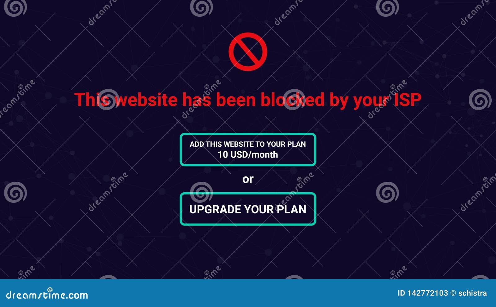 Neutralidad neta, sitio bloqueado por ISP, petición de actualizar plan