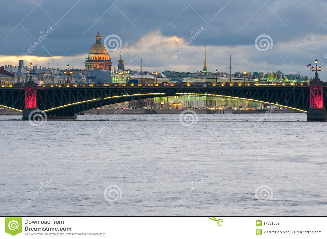 Over the neva river and dome of st isaac s cathedral st petersburg