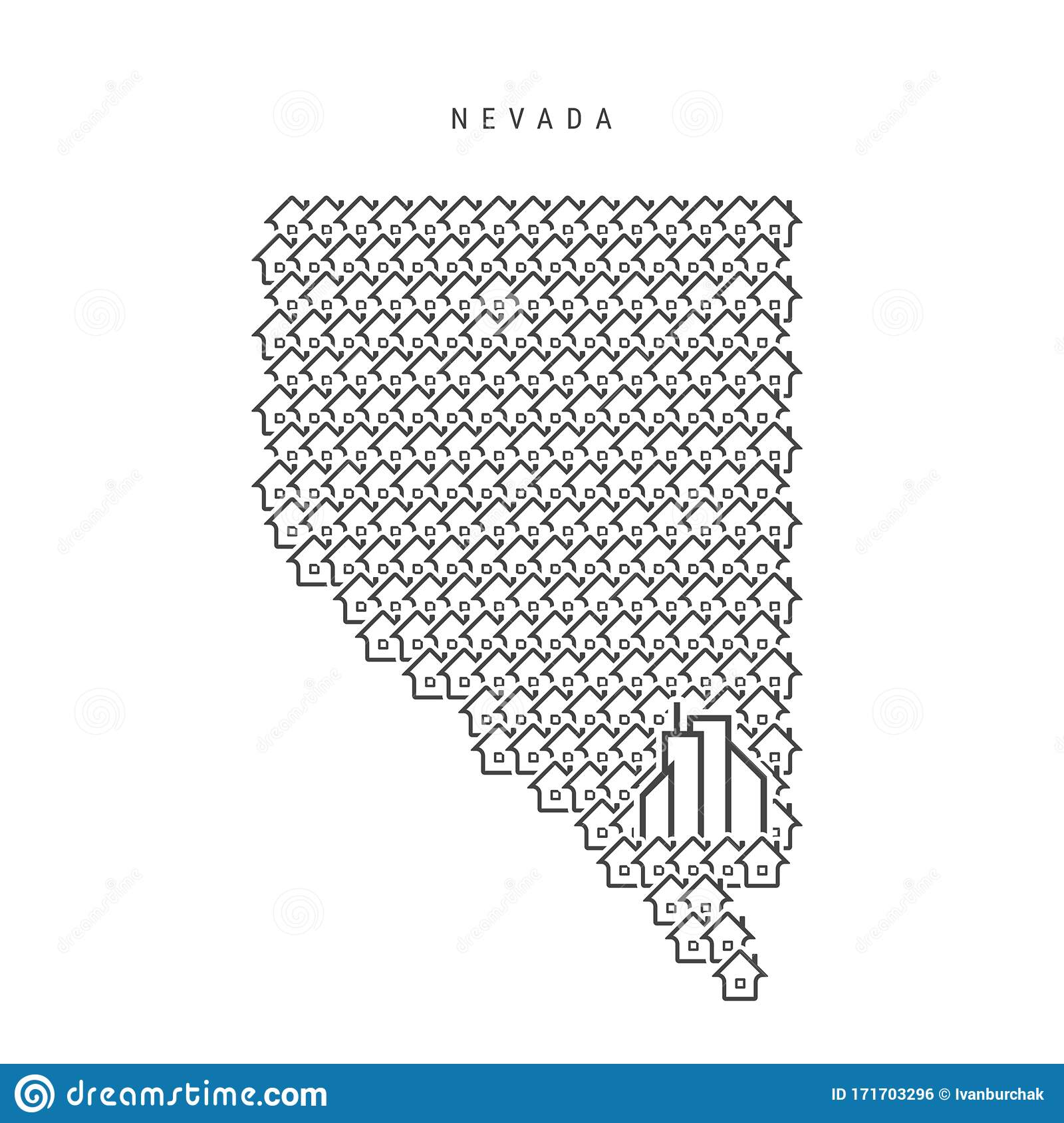 Nevada Real Estate Property Map Icons Of Houses In The Shape Of A Map Of Nevada Vector Illustration Stock Vector Illustration Of Nevada Form 171703296