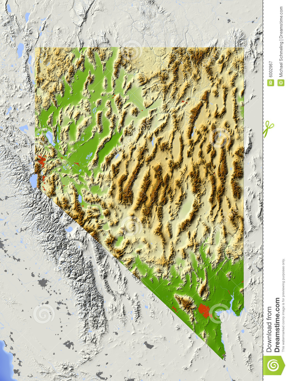 Nevada Shaded Relief Map Royalty Free Stock Photography