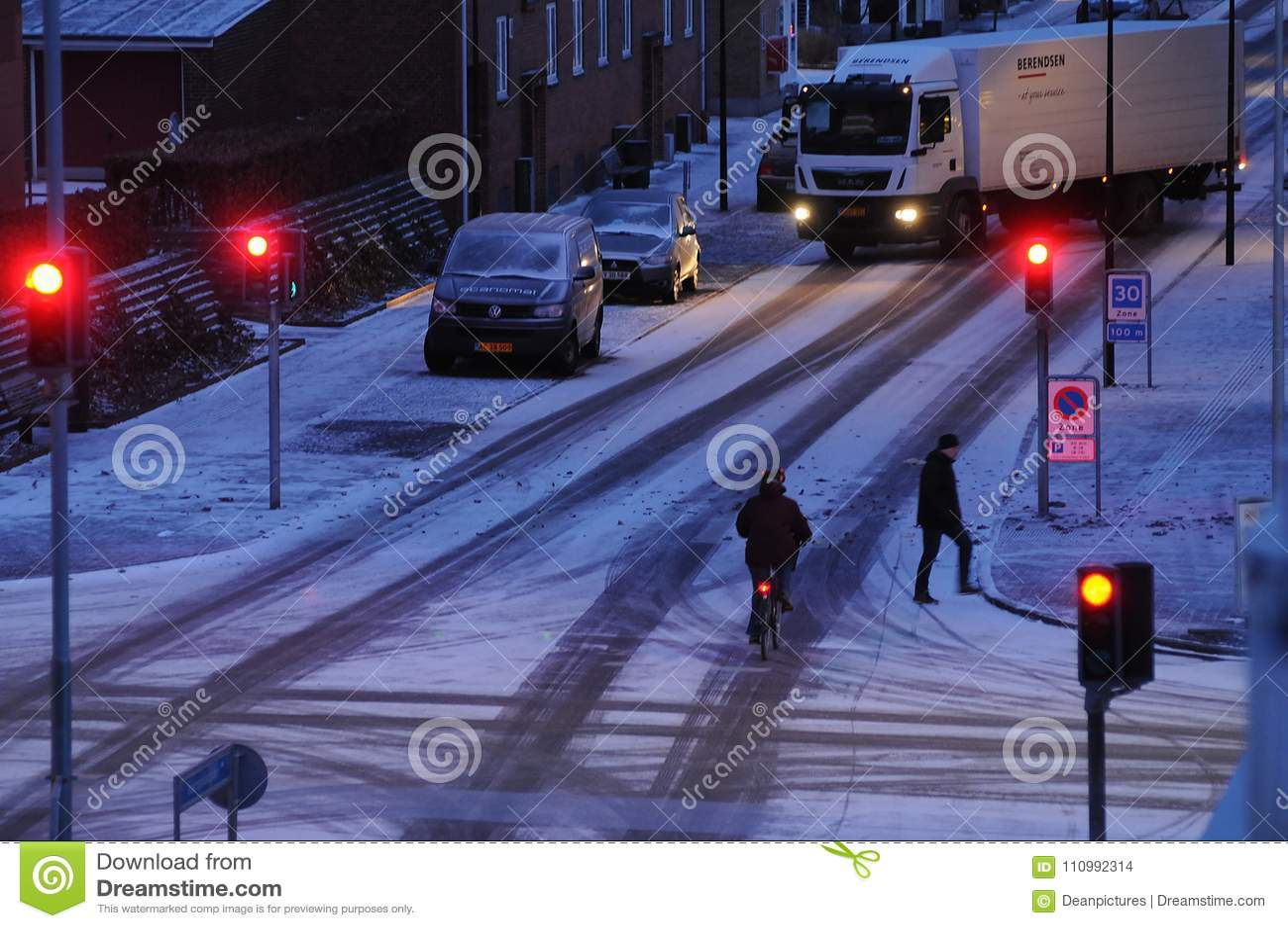 A neve cai em Dinamarca