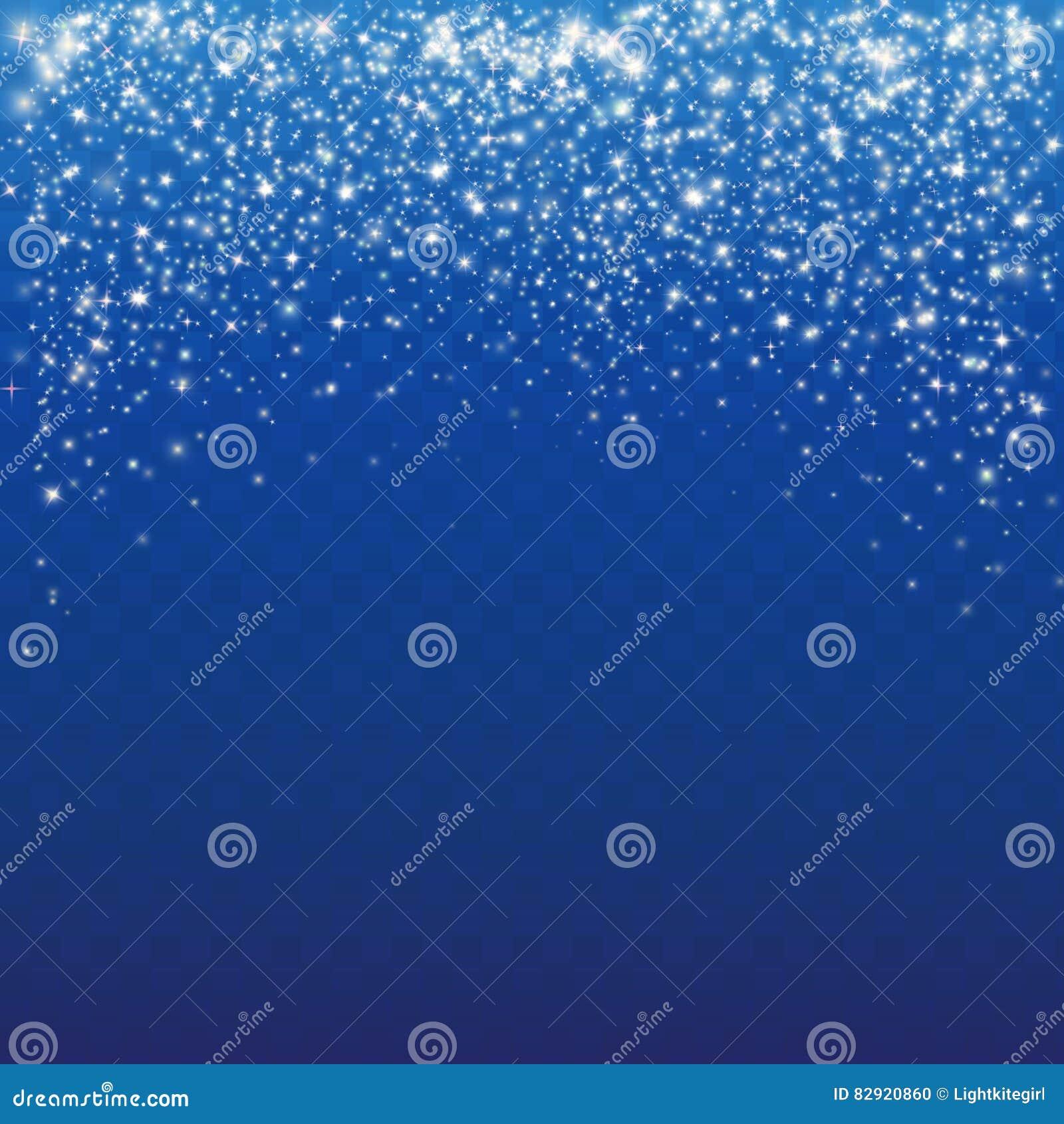 Neve de queda em um fundo azul Fundo branco abstrato do floco de neve do brilho