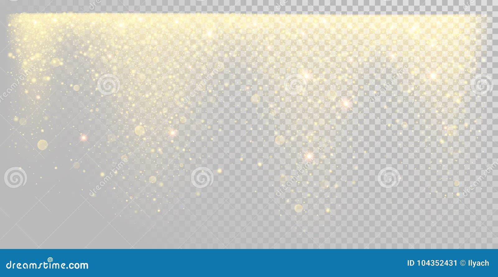 Neve dorata di scintillio di festa di Natale o coriandoli scintillanti dell oro sul modello bianco del fondo Lustro dorato della