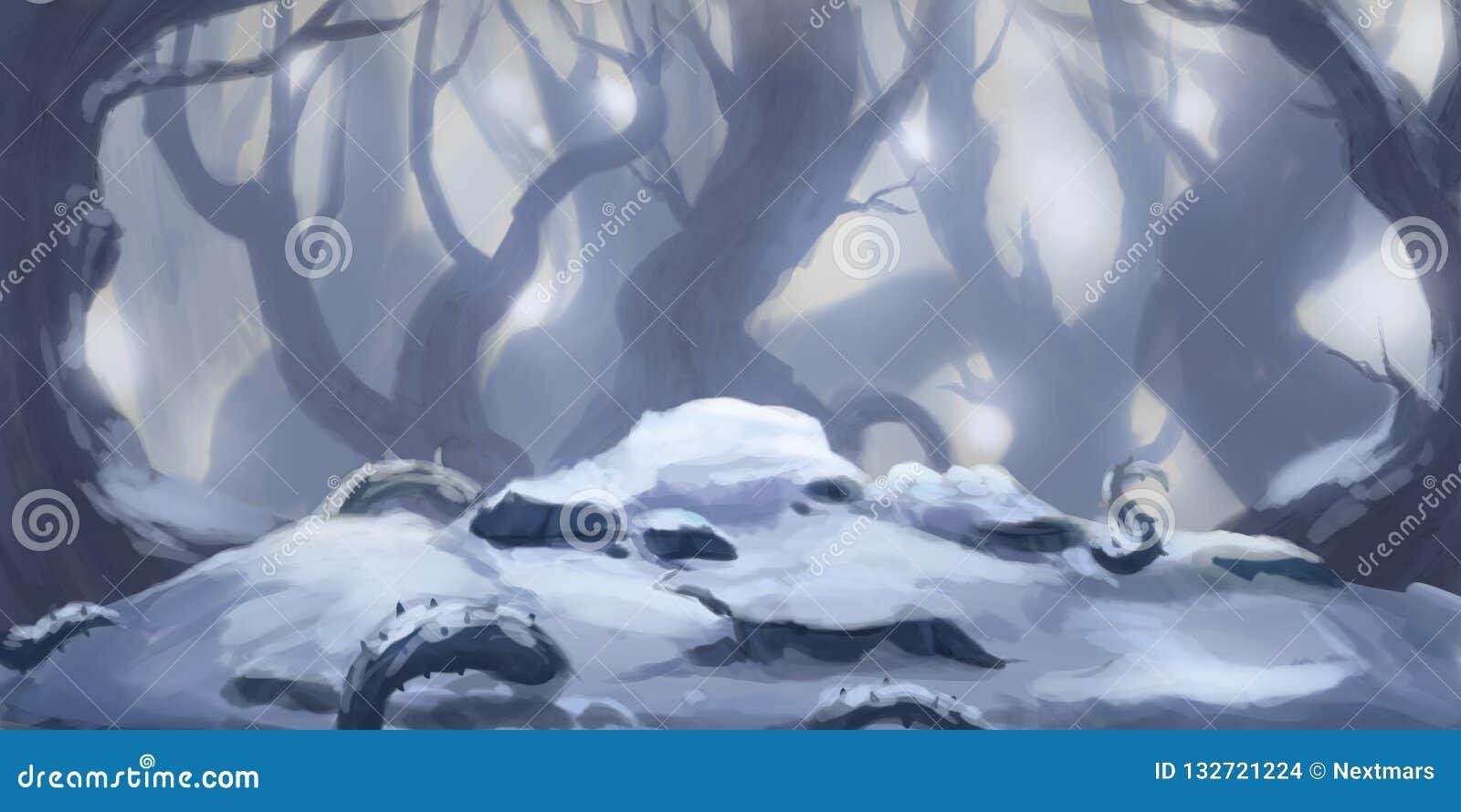 Neve Forest Fiction Backdrop Arte do conceito Ilustração realística