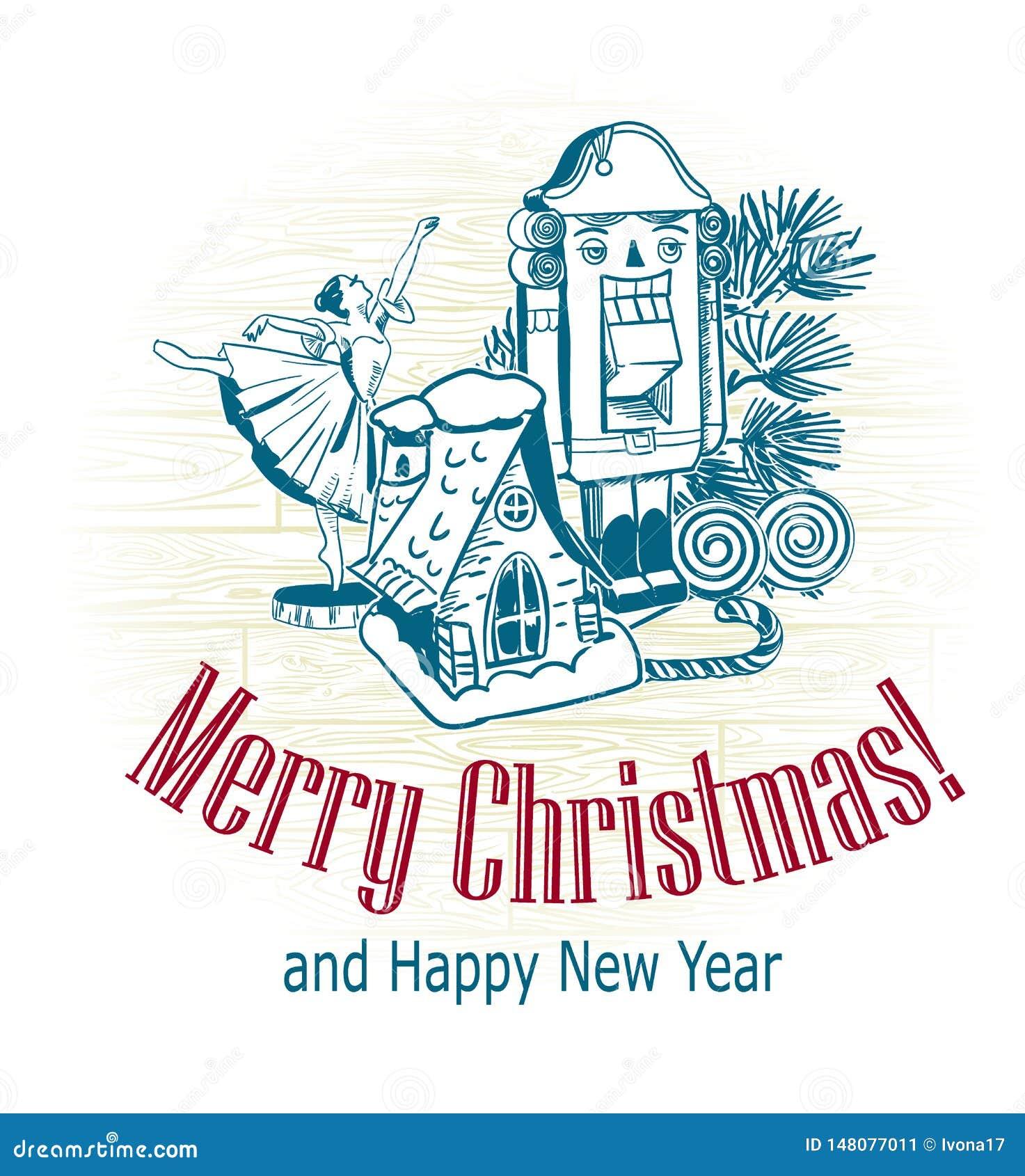 Neve tirada da casa da bailarina da quebra-nozes dos brinquedos da árvore do esboço do vetor do cartão de Natal estilo retro