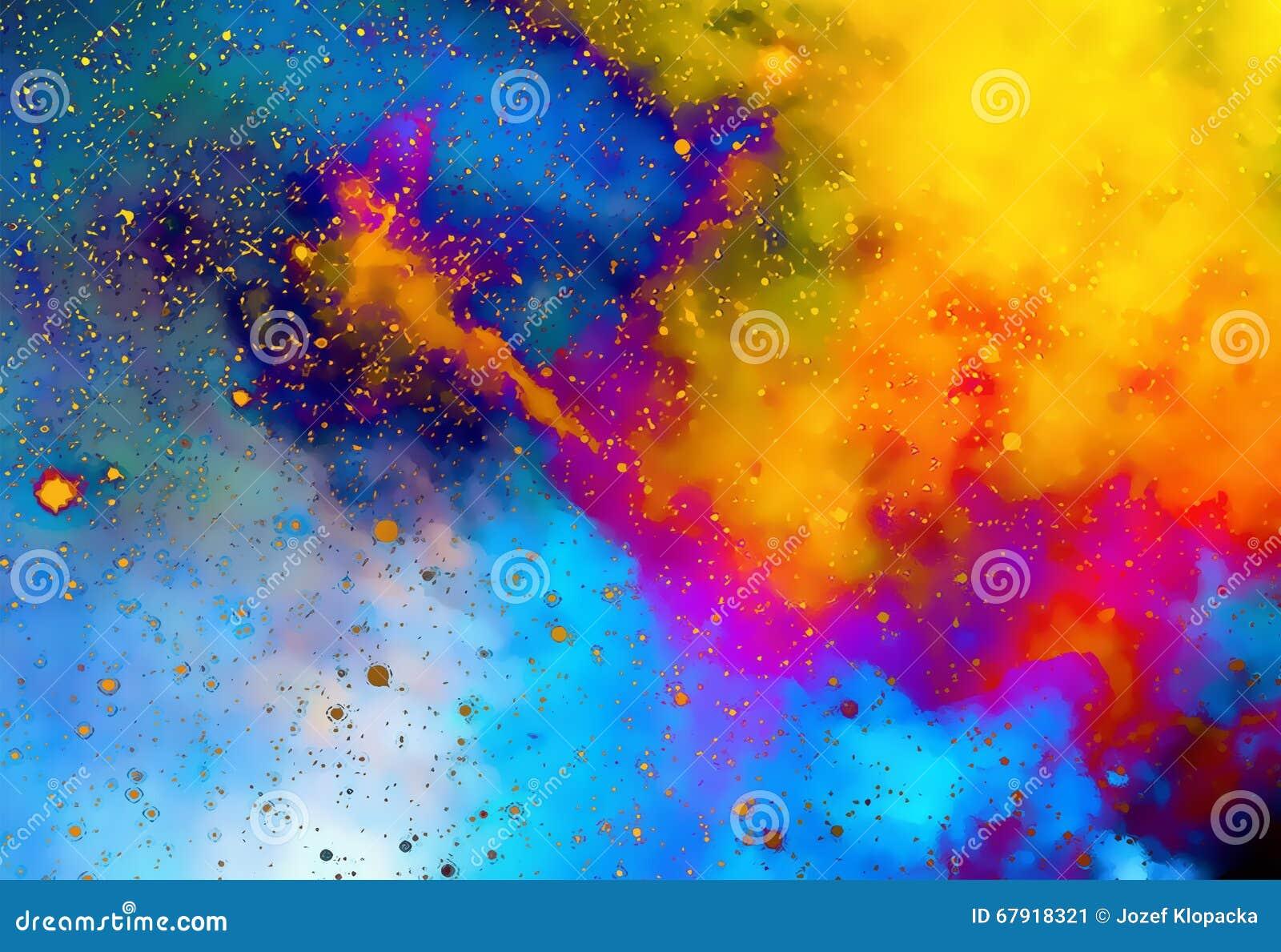 Nevel kosmische ruimte en sterren kleurenachtergrond fractal effect het schilderen effect - Ruimte van de jongen kleur schilderen ...