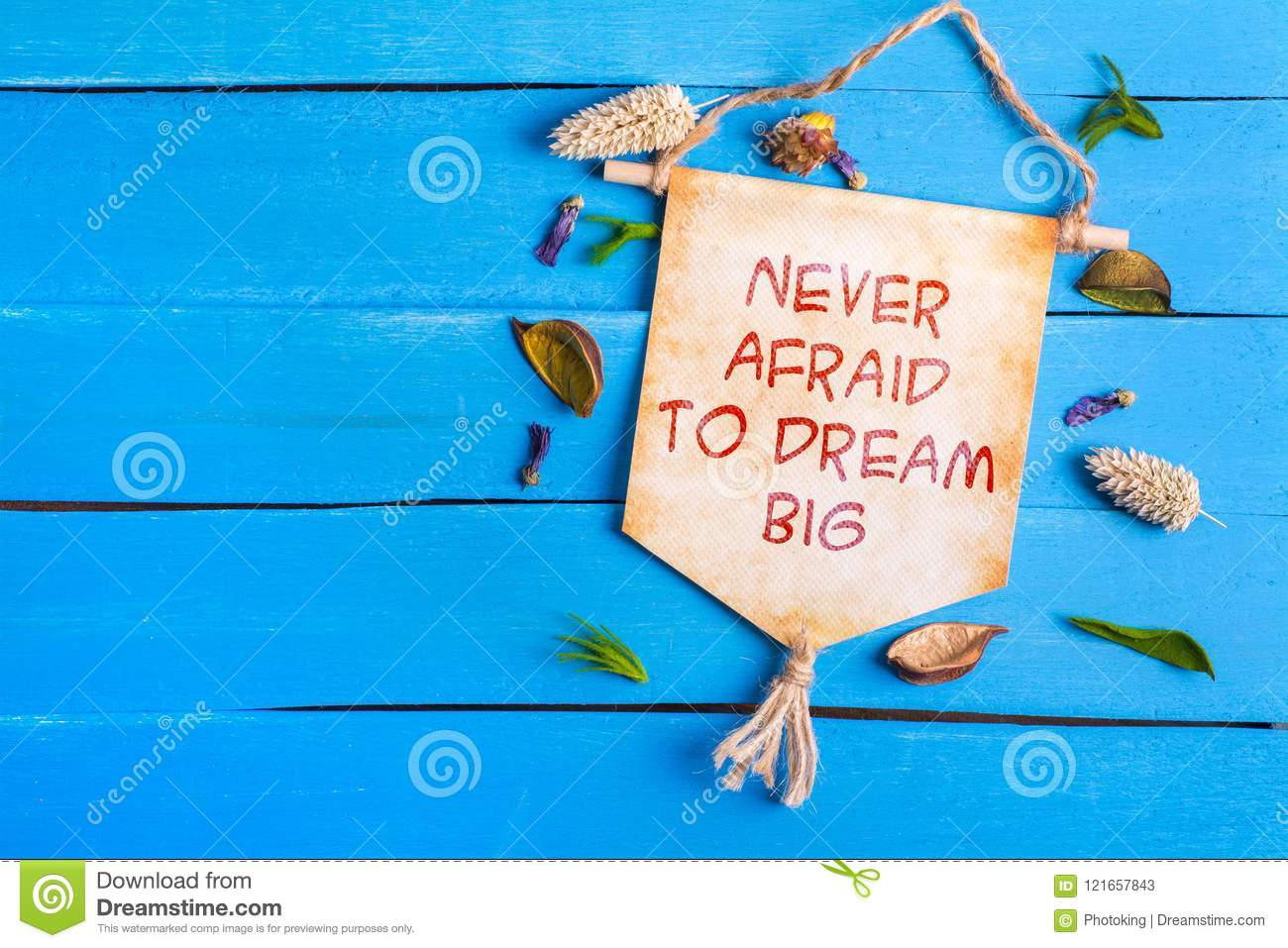 Never afraid to dream big text on Paper Scroll