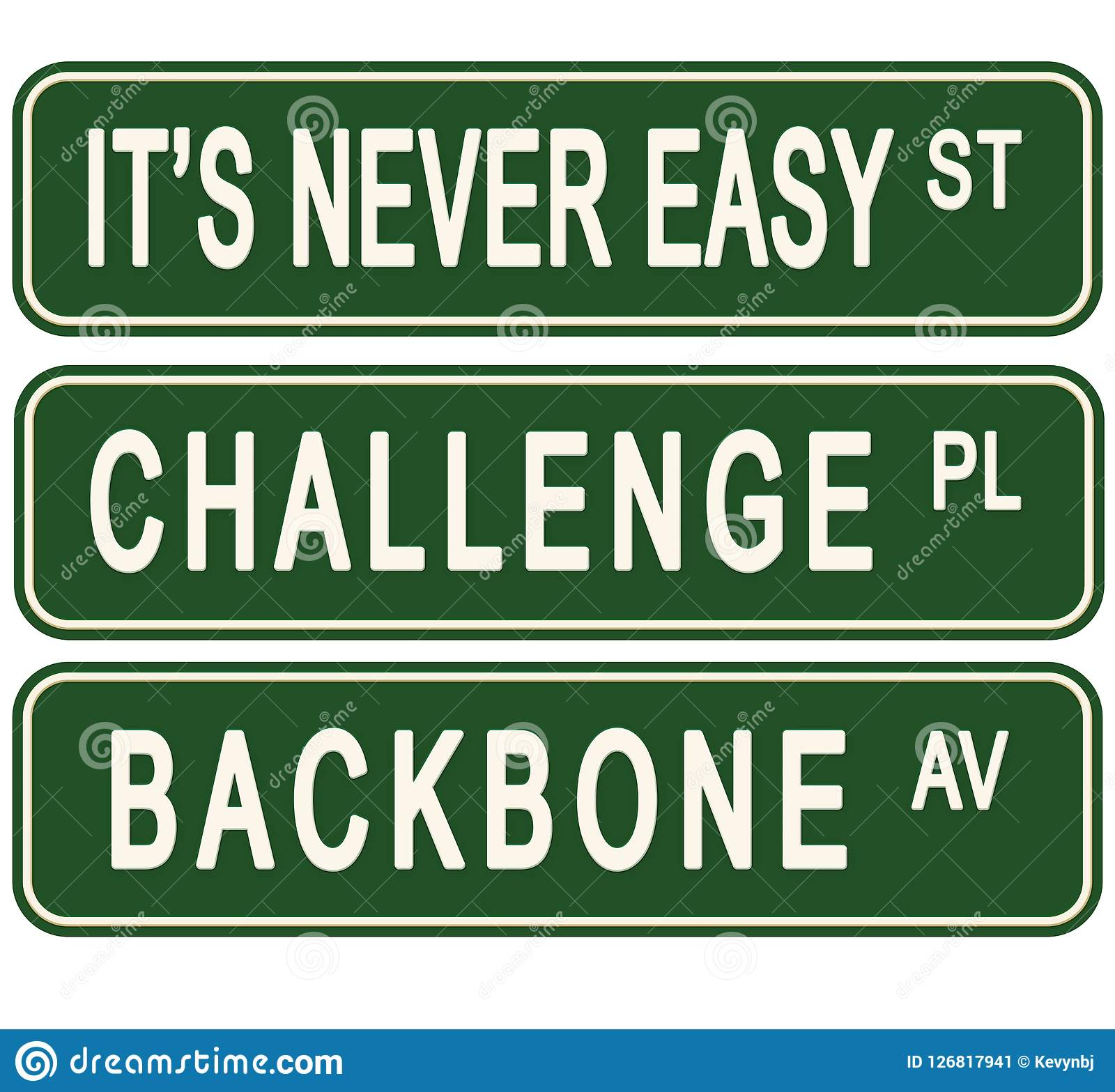 Never Easy Challenge Business Motivational Street Signs
