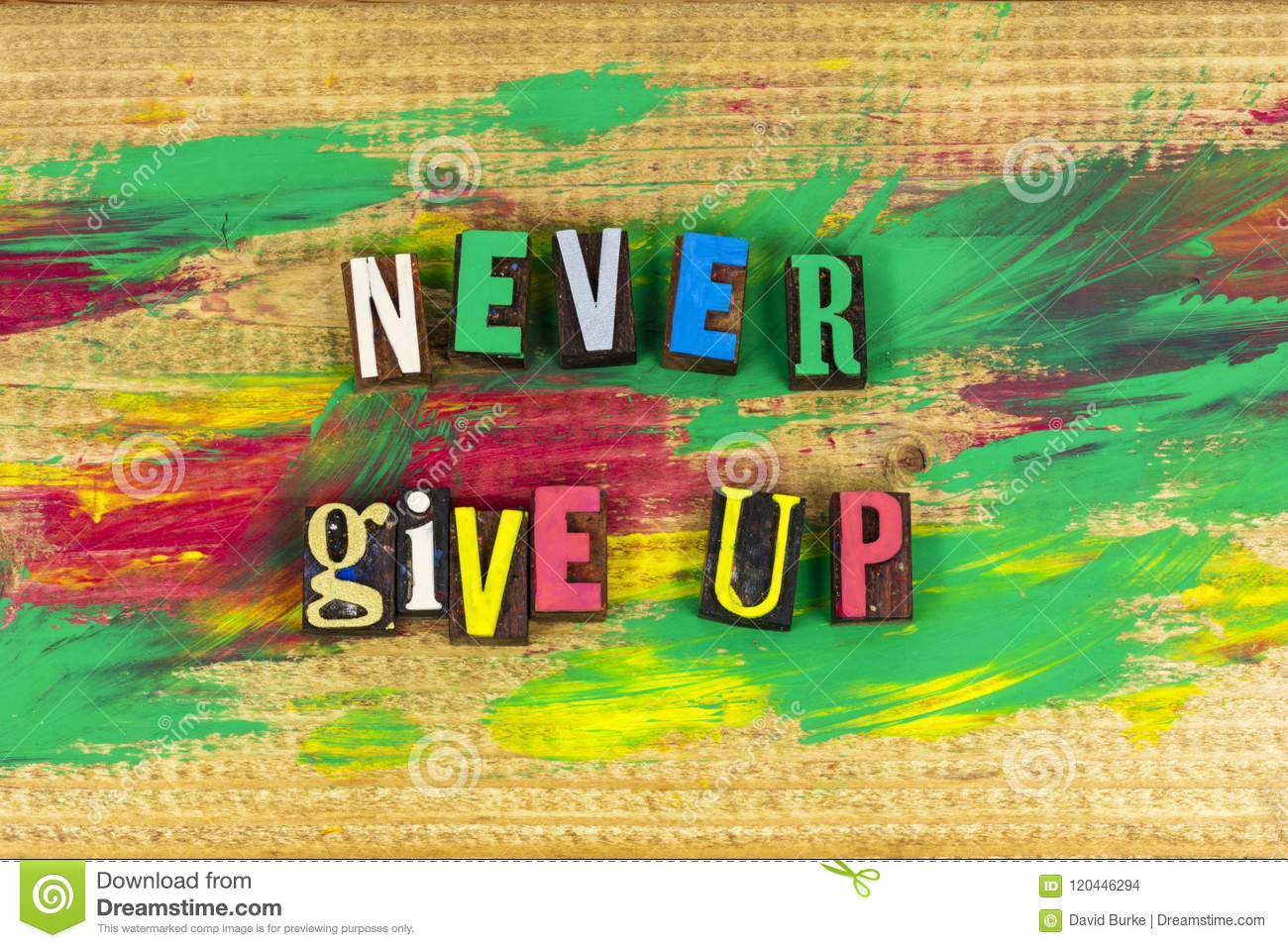Never give up determination planning