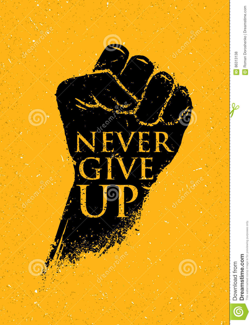 Never Give Up Motivation Poster Concept Creative Grunge Fist Vector