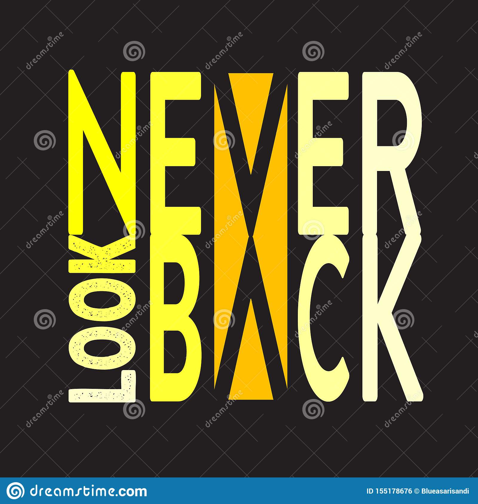 Never Look Back. Minimal Typography modern Fashion Slogan for T-shirt and apparels graphic