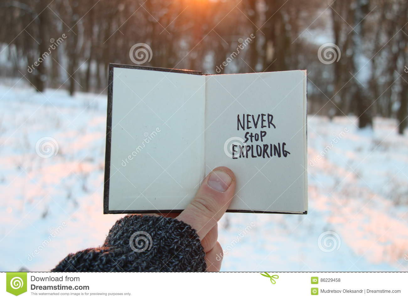Never stop exploring. Inspirational and motivational quotes. . Book and text.