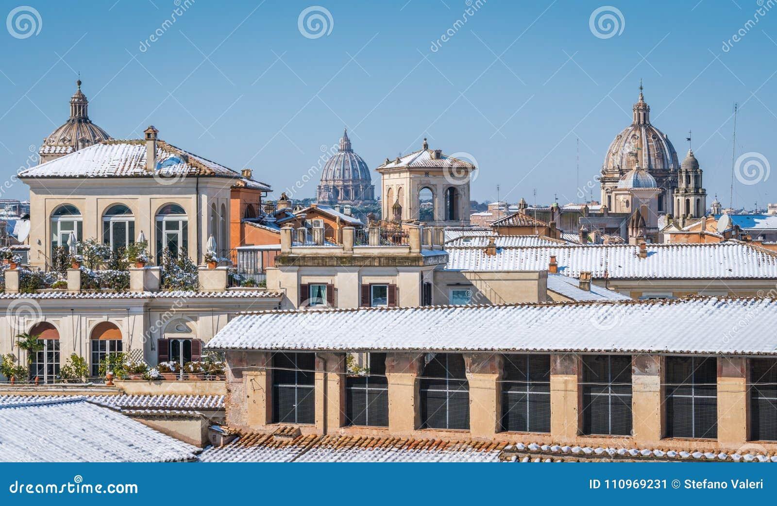 Nevica A Roma Nel Febbraio 2018 La Vista Panoramica Dei