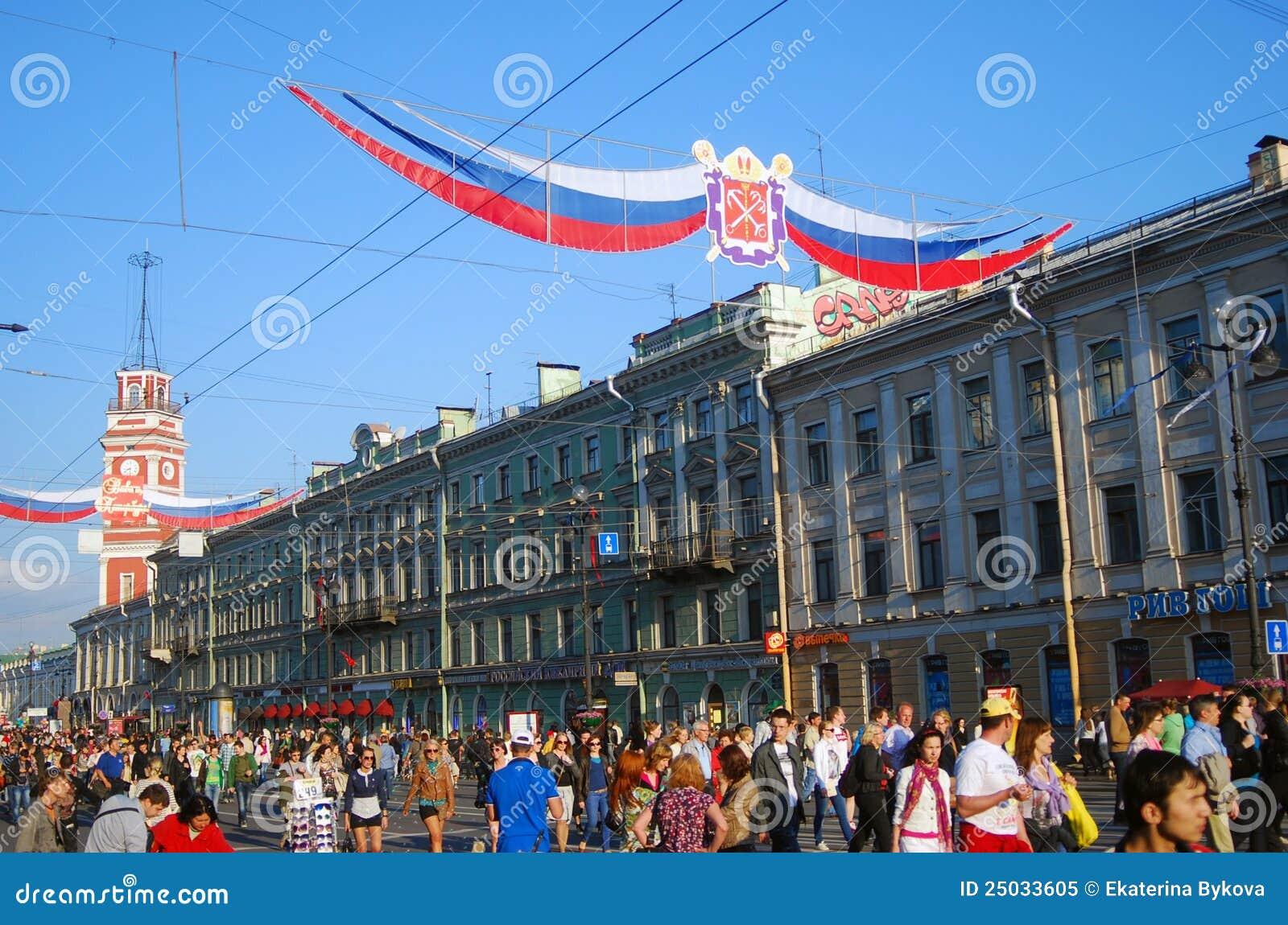 Nevsky utsikt för berömstadsdag