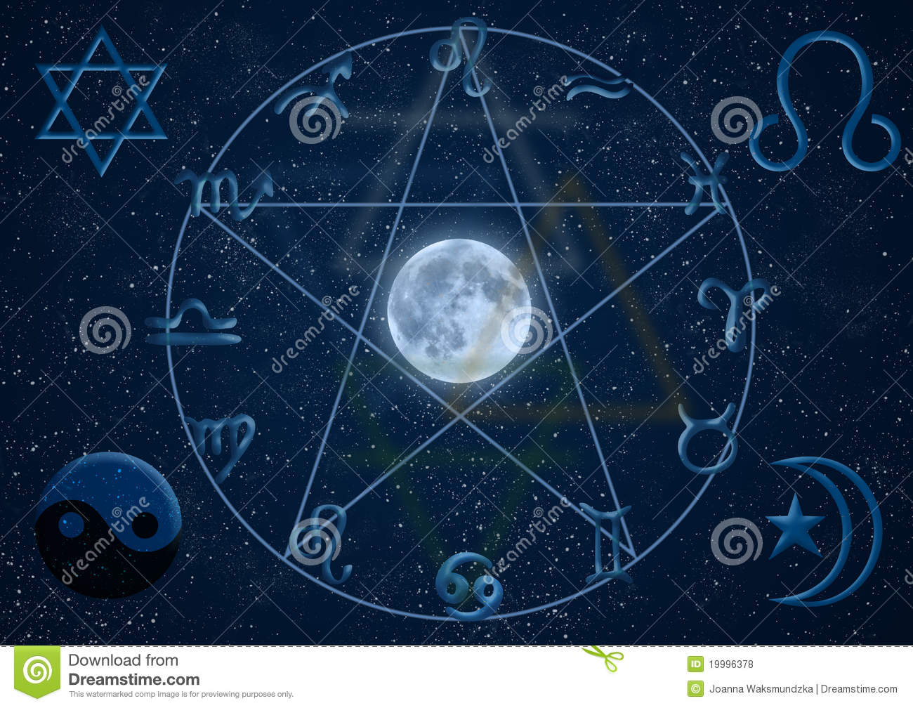 New age symbols on blue background including astrology chart.