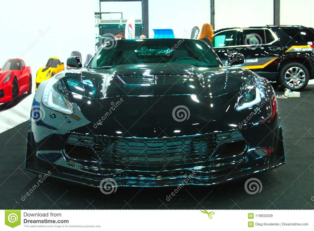 New American Muscle Car On Royal Auto Show Front View Editorial - American muscle car show 2018