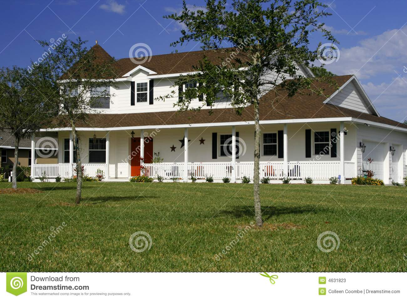 New american style home stock image image of front for New american style house plans