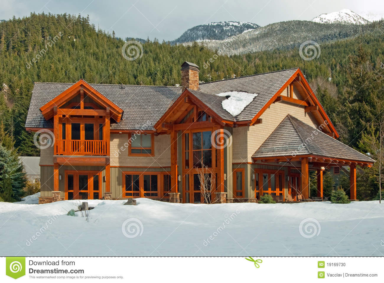 New american wooden dream home stock photo image 19169730 for Dream wooden house