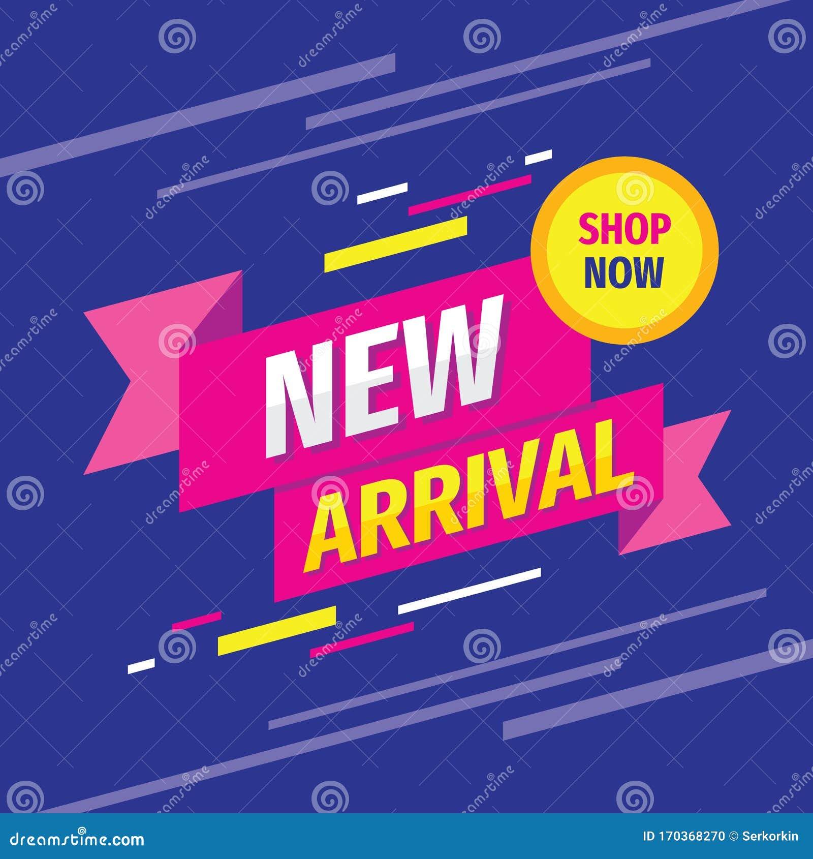 New Arrival Concept Design Banner on Dark Blue Background. New ...