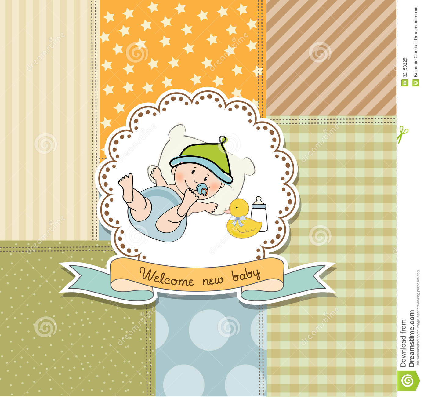New Baby Announcement Card With Little Baby Royalty Free – Free Baby Announcement