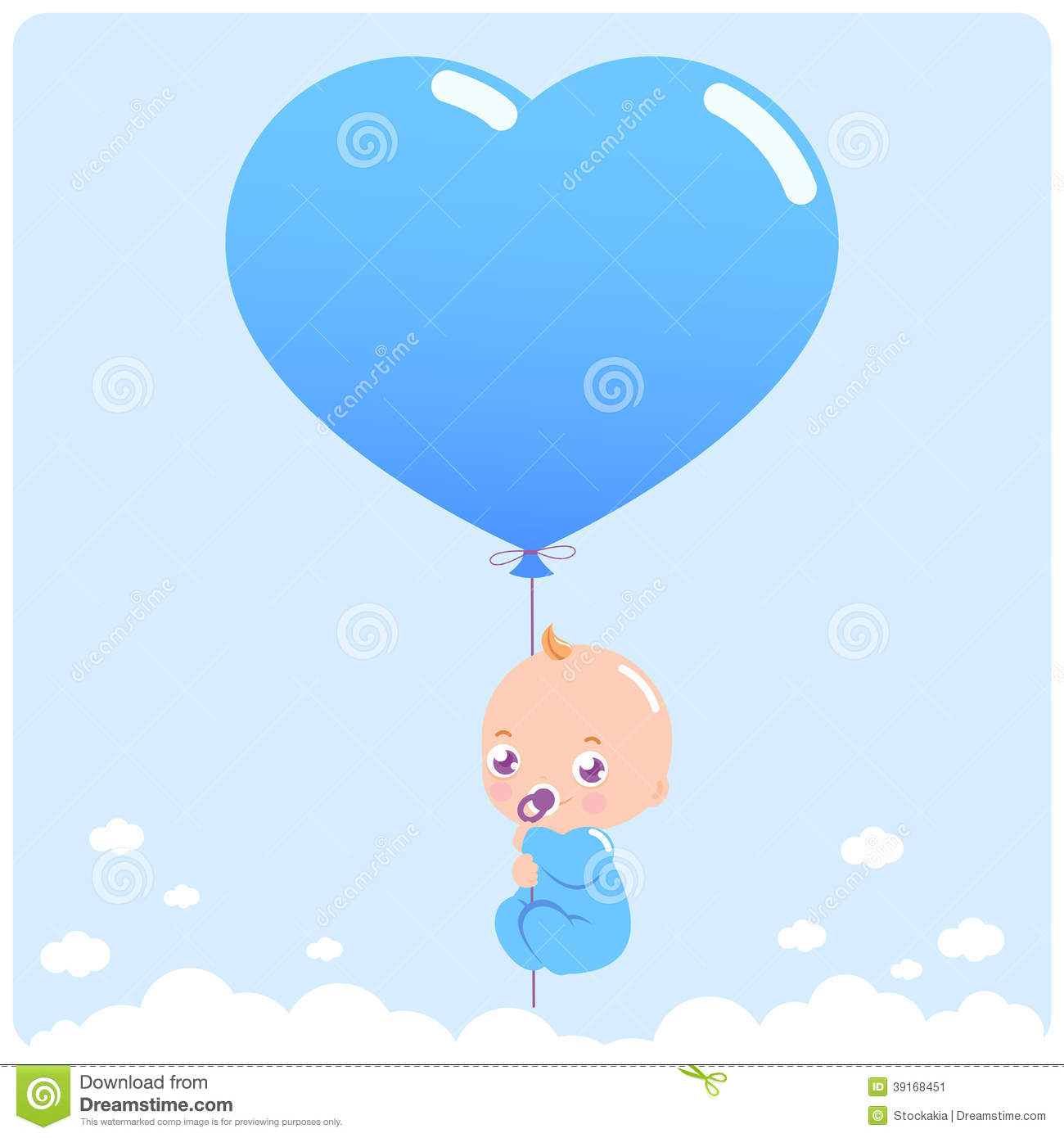 cute newborn baby boy flying in the sky holding a heart balloon.