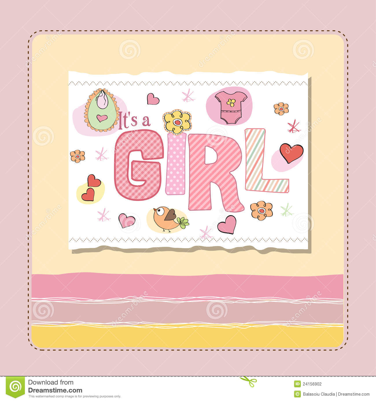 baby girl card stock vector illustration of drawn born 30553947