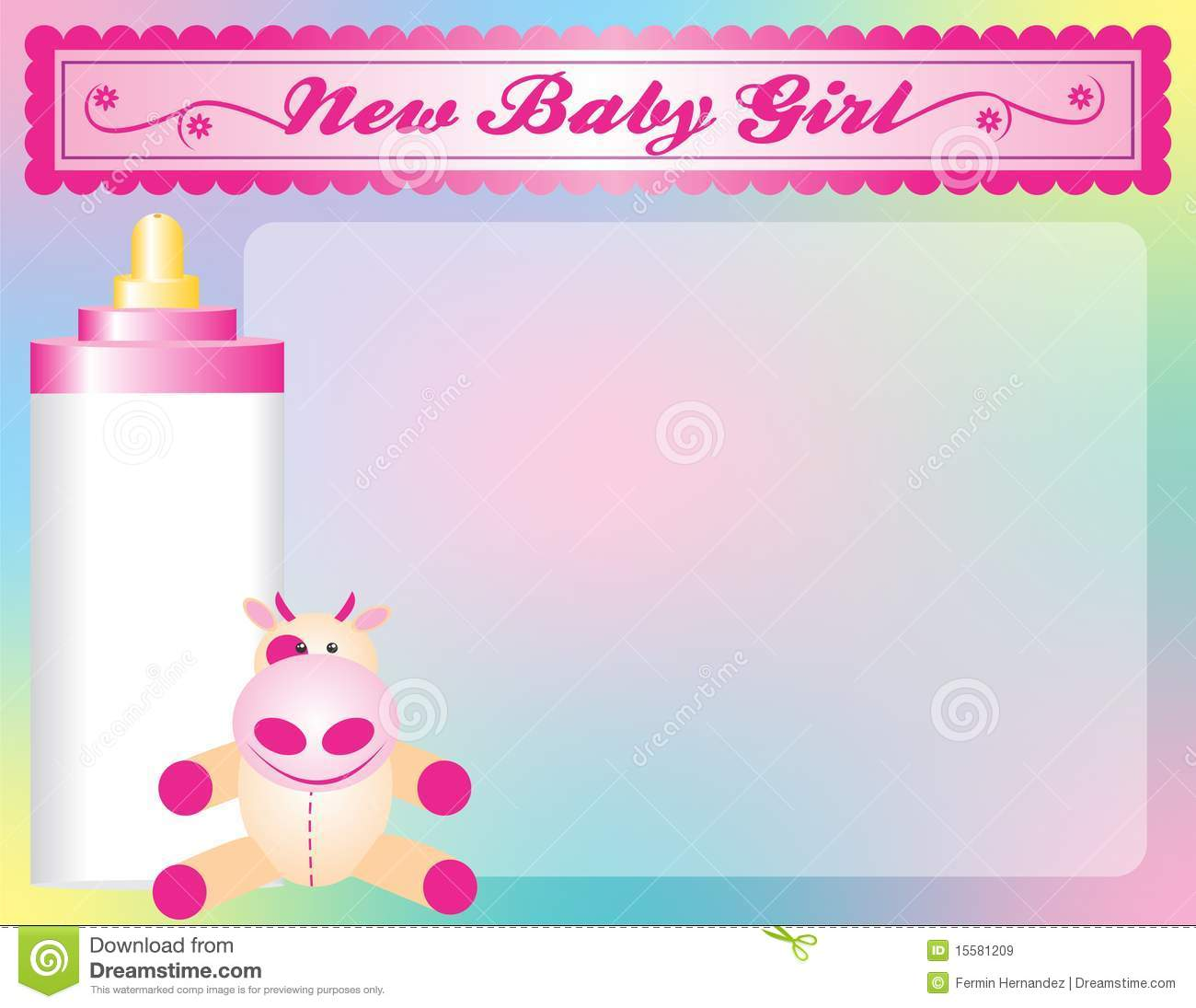 new baby girl arrival announcement royalty free stock