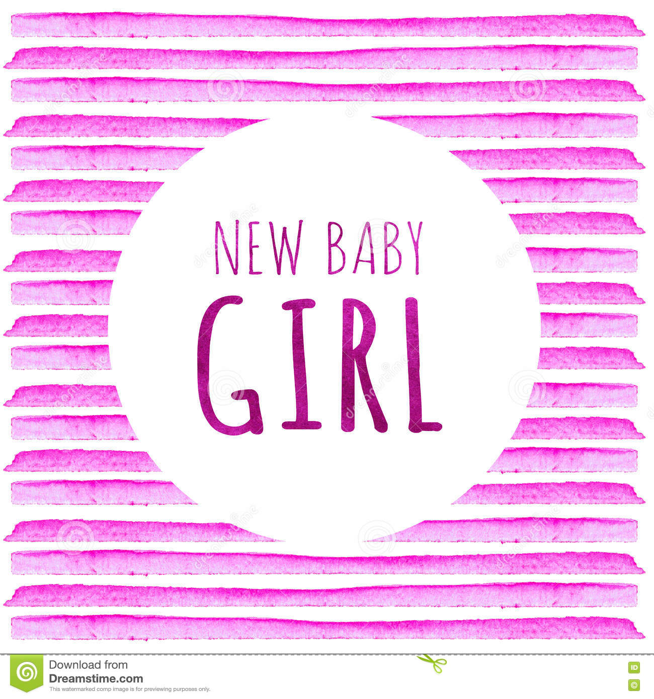 new baby girl watercolor creative greeting cards template retro