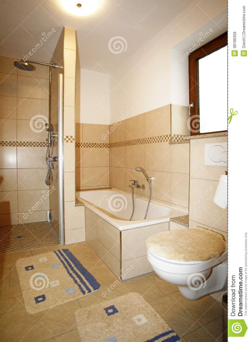 Modern rustic bath with beige Brown blue colored interior with mosaic ...