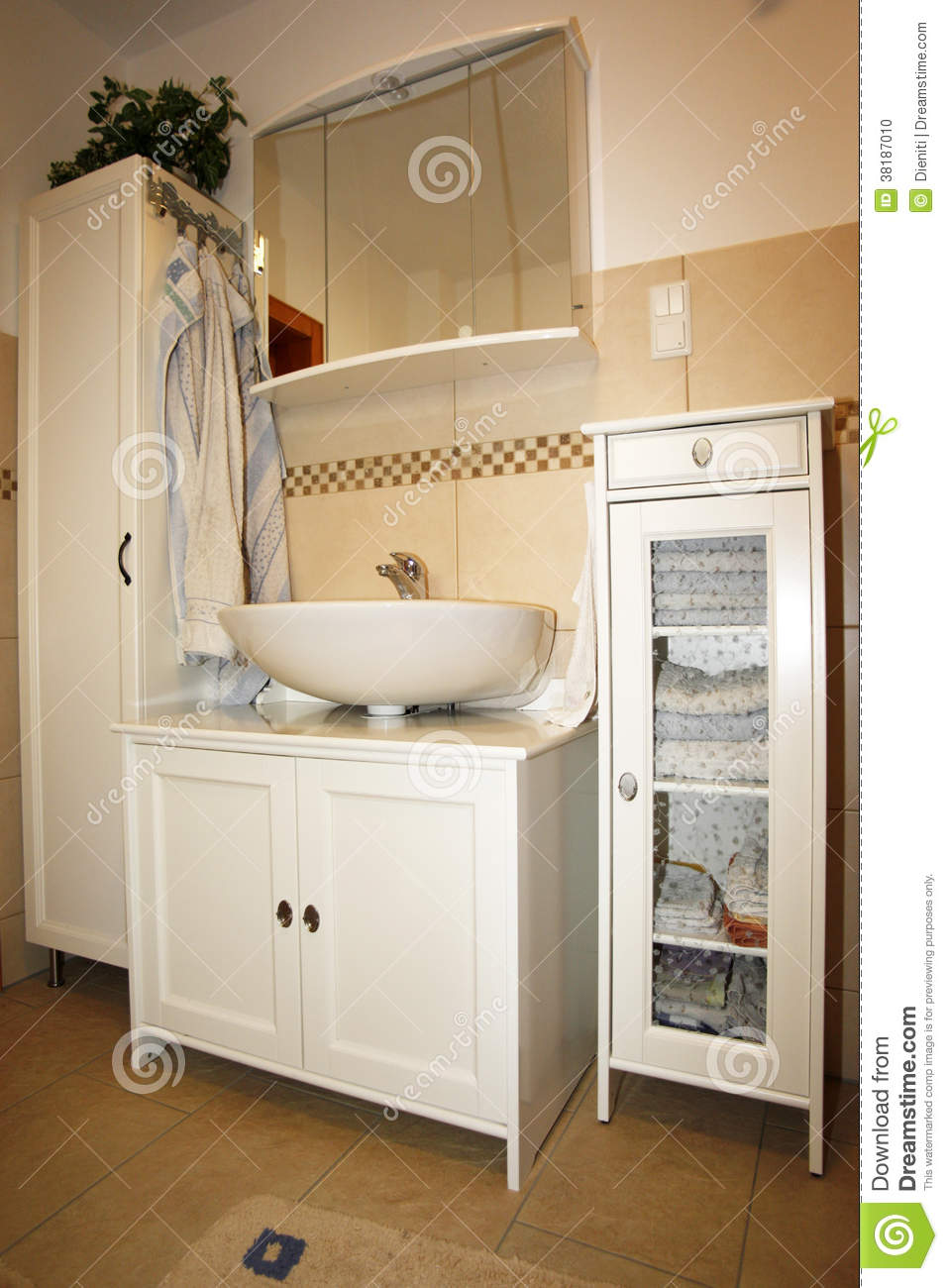 New Bathroom In Beige Brown Colours Stock Photo Image 38187010