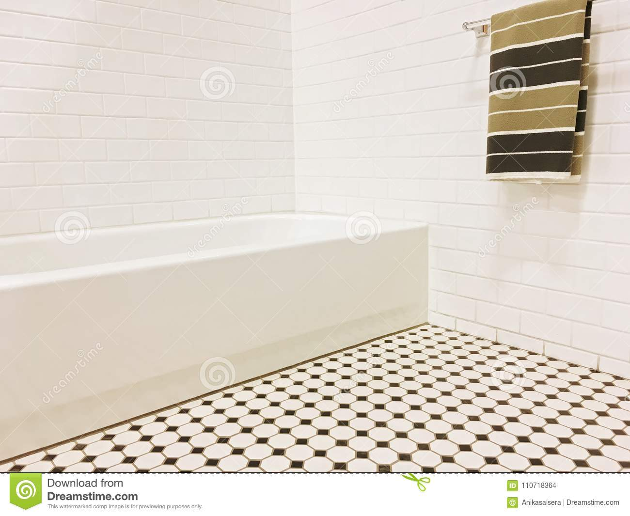 New Bathroom With Black And White Ceramic Tile Decor Stock Photo ...