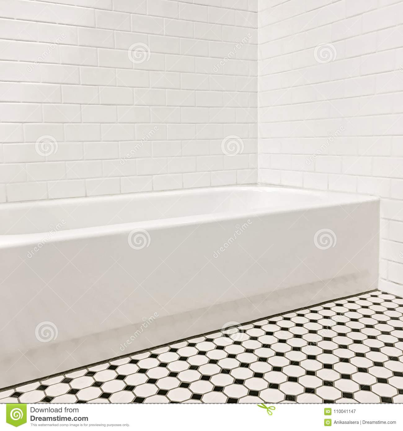 New Bathroom With Ceramic Tile Walls And Floor Stock Image - Image ...