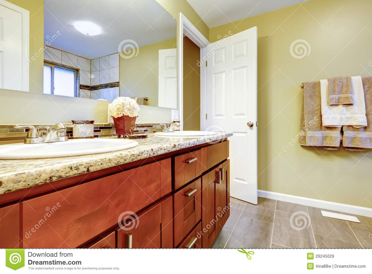 New bathroom interior with cherry sink cabinet royalty for Latest bathroom interior