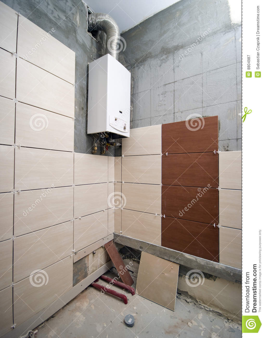 New Bathroom Partially Tiled Stock Image Image 8804987