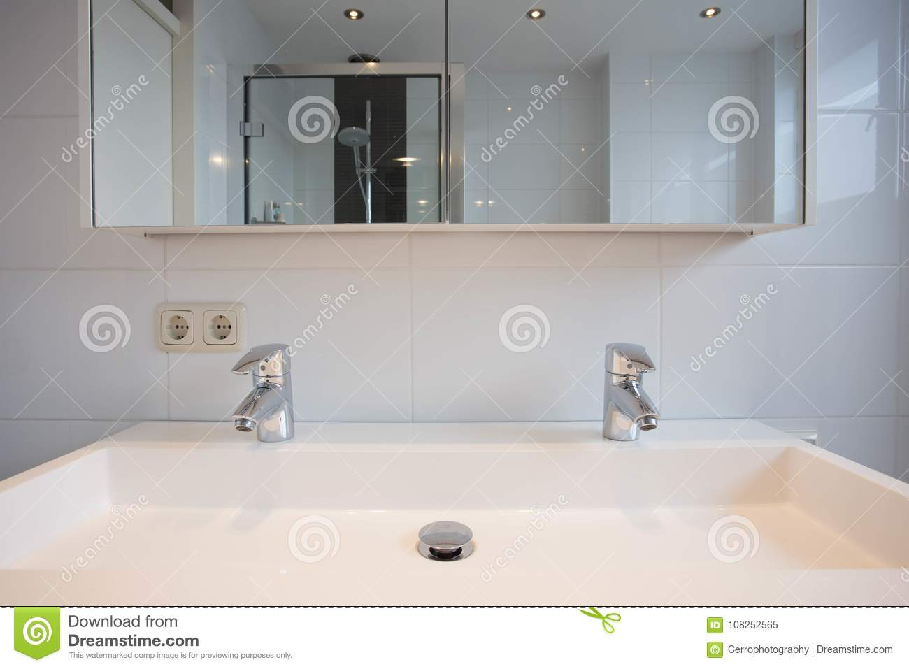 New Bathroom Sink With Two Silver Taps Stock Image - Image of ...