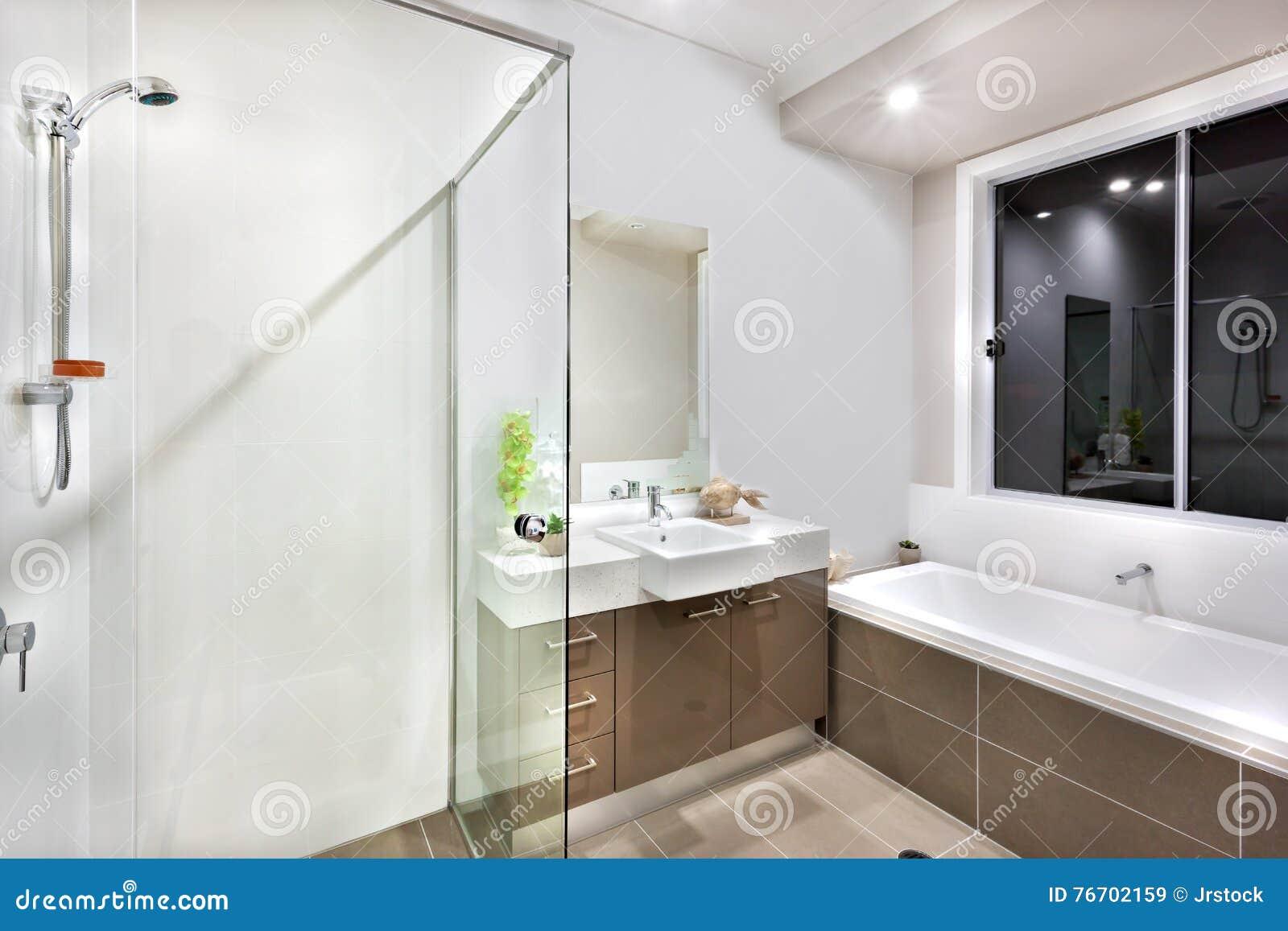 New Bathroom With Washing Area, Including Bath Tub Stock Image ...