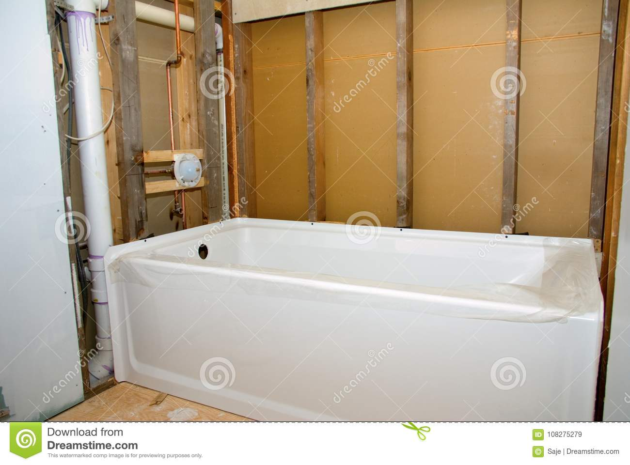 Bathroom Remodel Tub And Bare Walls Stock Image - Image of ...