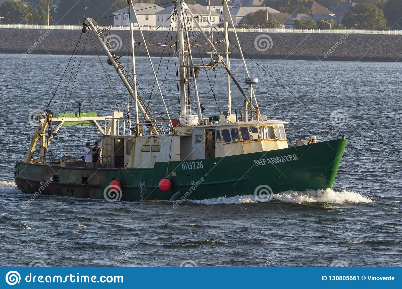 Commercial Fishing Vessel Shearwater Approaching New Bedford