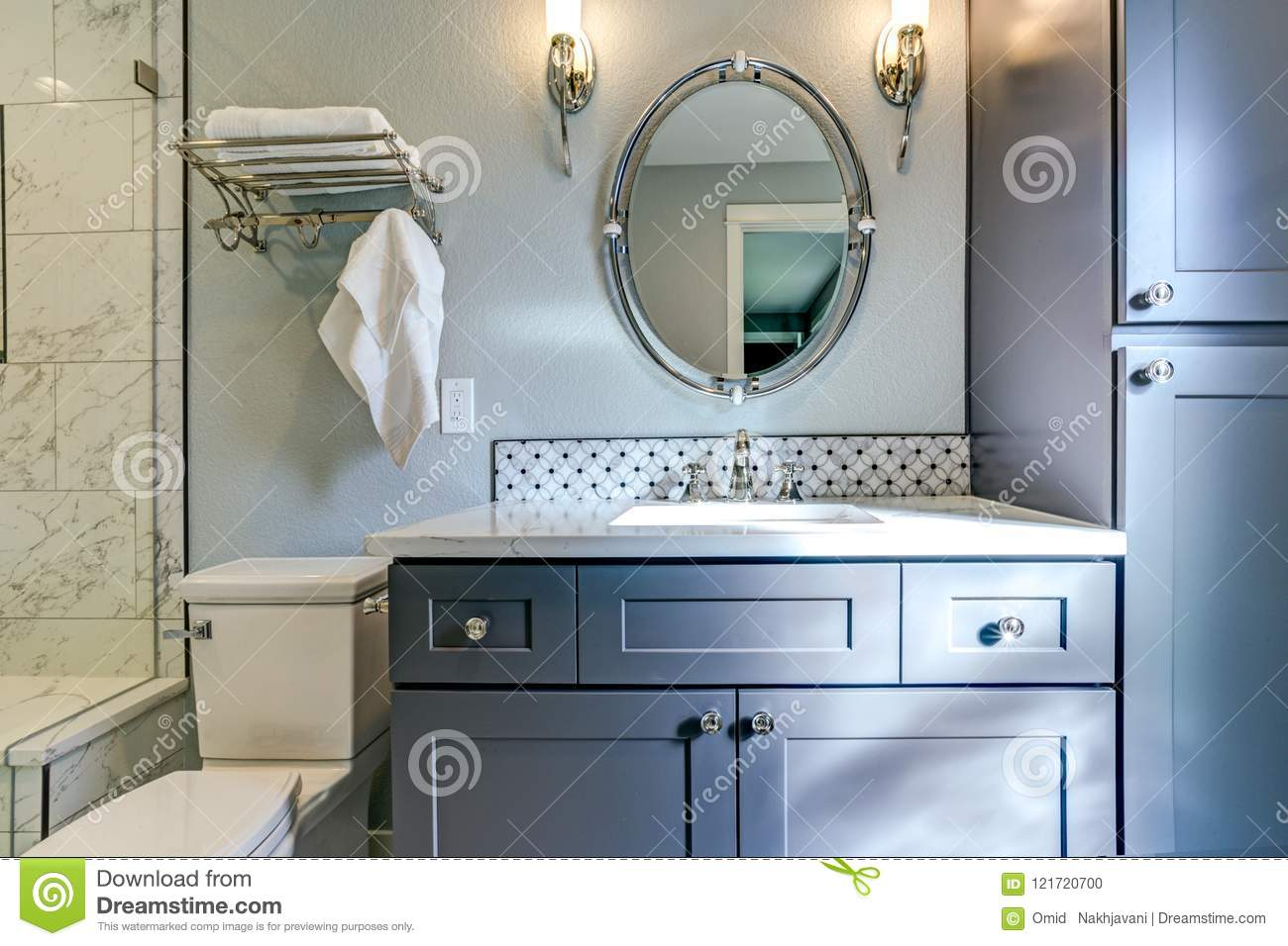 New Blue Bathroom Design With Marble Shower Surround Stock Photo ...