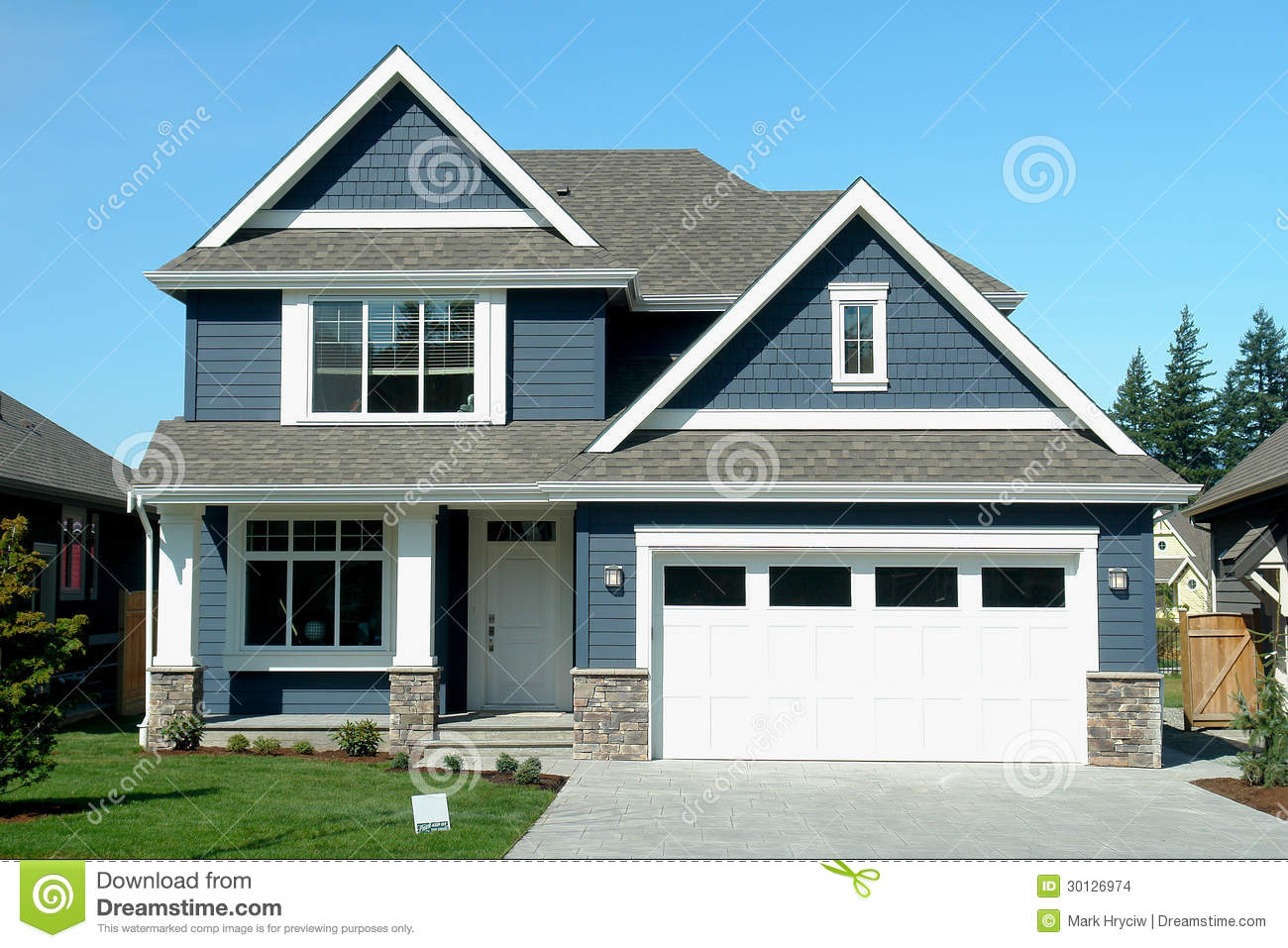 Blue house home new stock photo image of chilliwack for Blue house builders