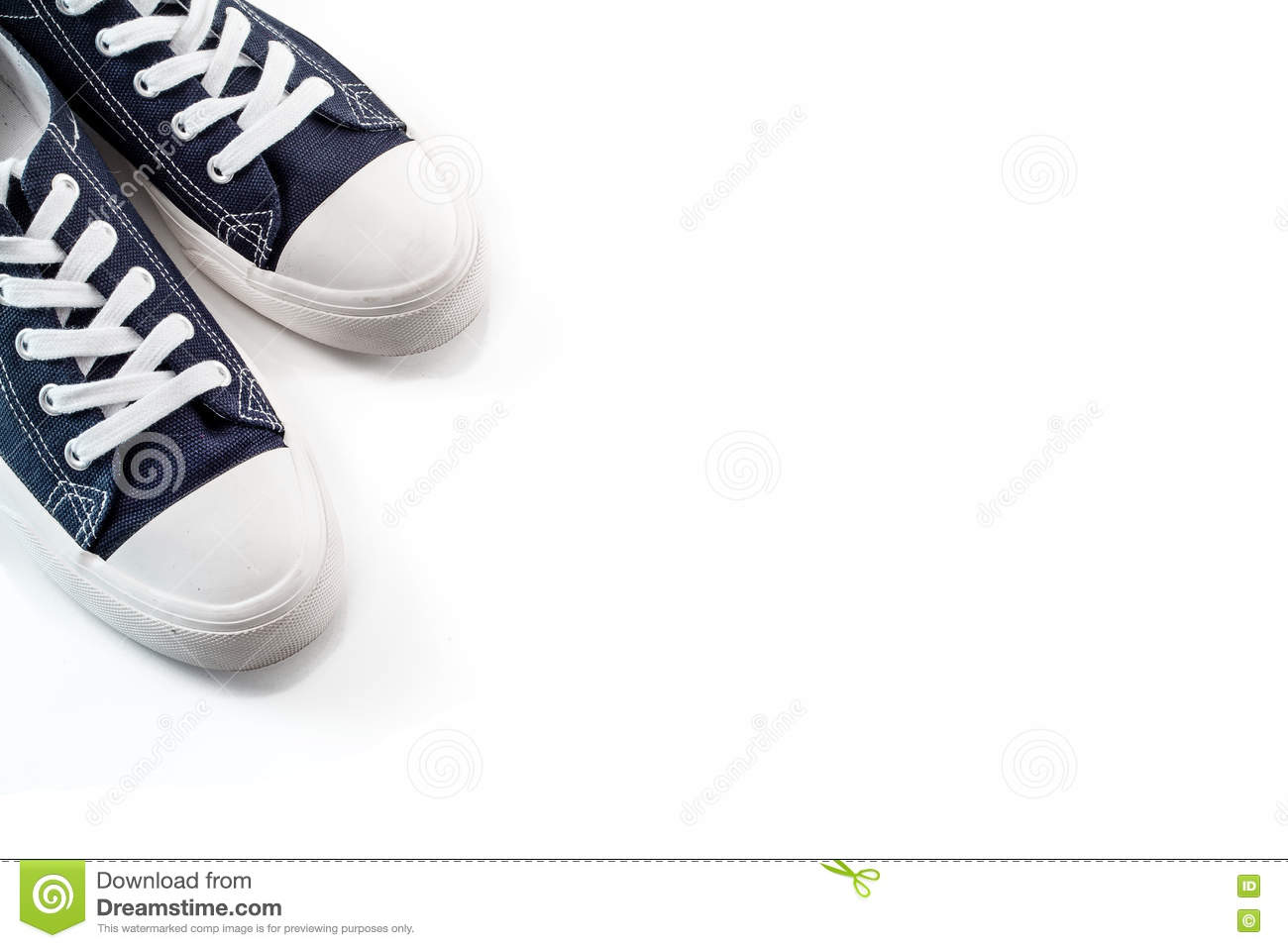 New blue sneakers on white background