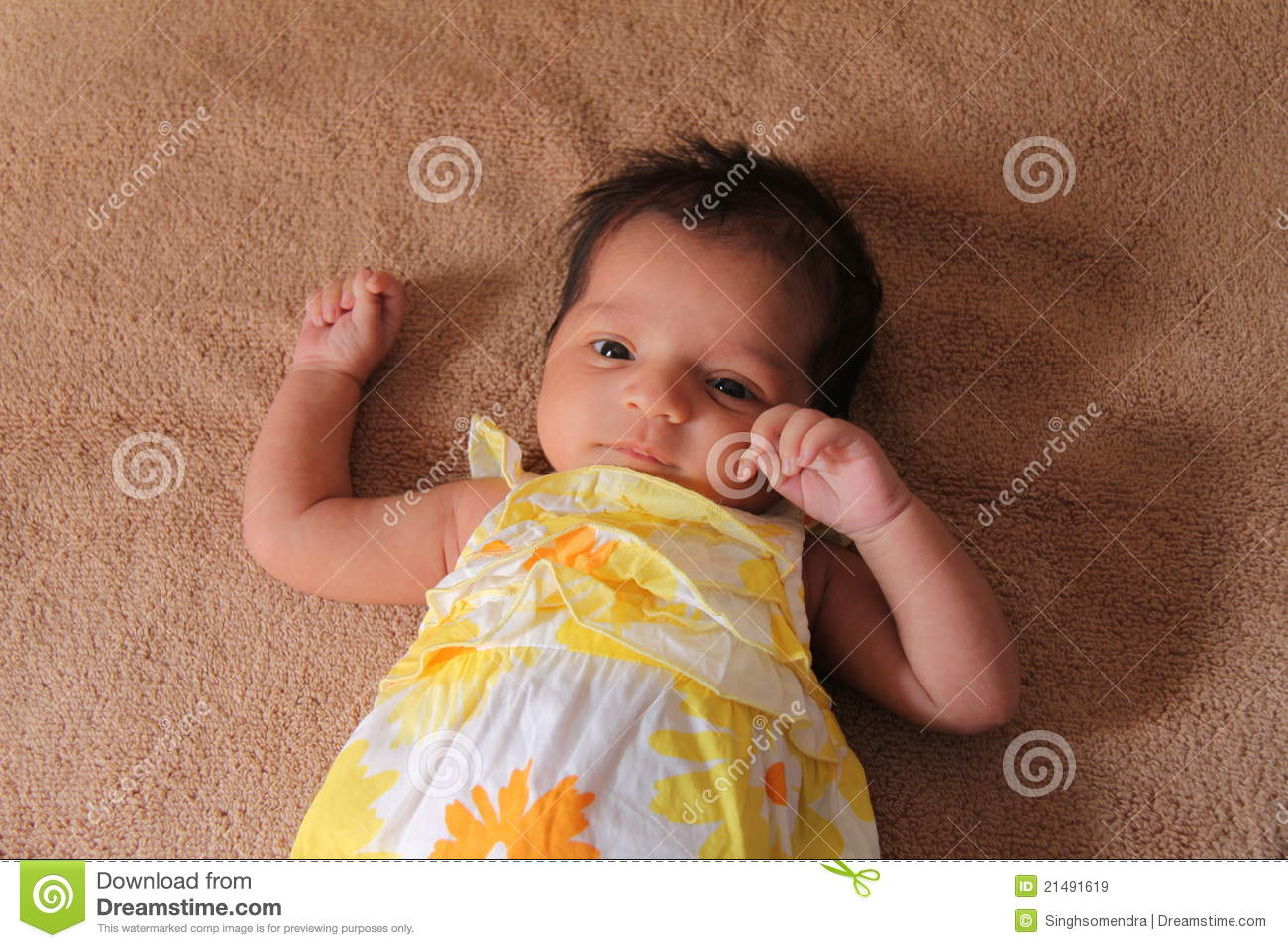 new born asian baby girl in cute dress stock image - image of