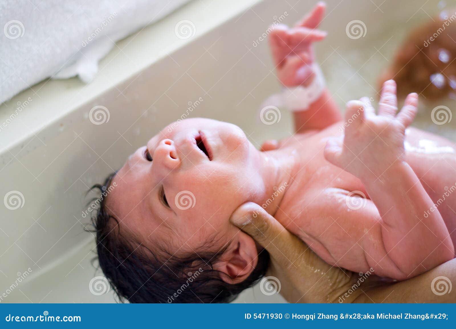 new born baby bath stock photo image 5471930. Black Bedroom Furniture Sets. Home Design Ideas