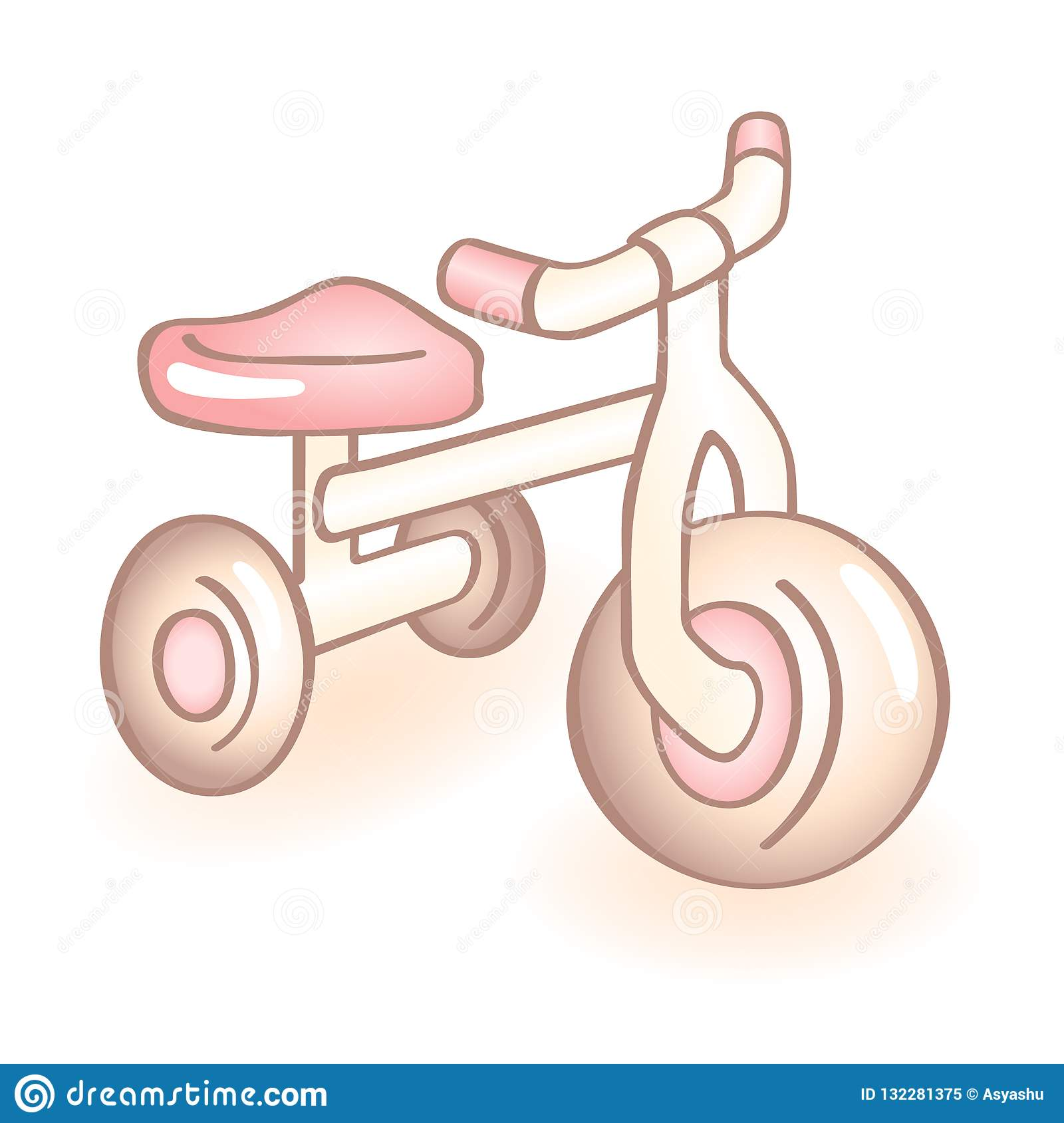 New Born Baby Bike With Three Wheels Tricycle With Pink Details Infant Vector Icon Child Item Stock Illustration Illustration Of Isolated Item 132281375