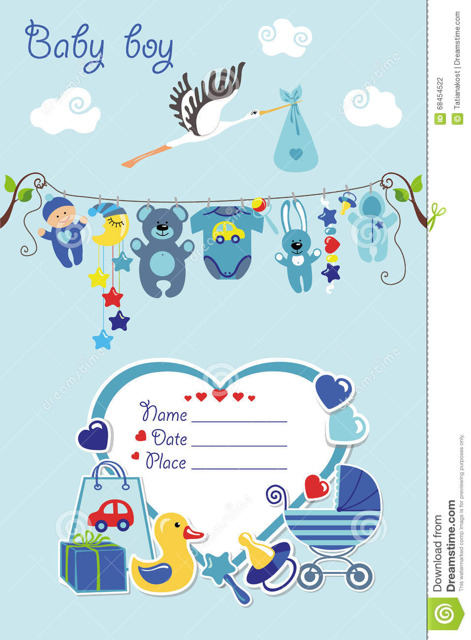 Baby boy arrival card vector by leonart image 600444 vectorstock - New Born Baby Boy Card Shower Invitation Stock Vector Wallpaper Gallery Vector Baby Boy Card