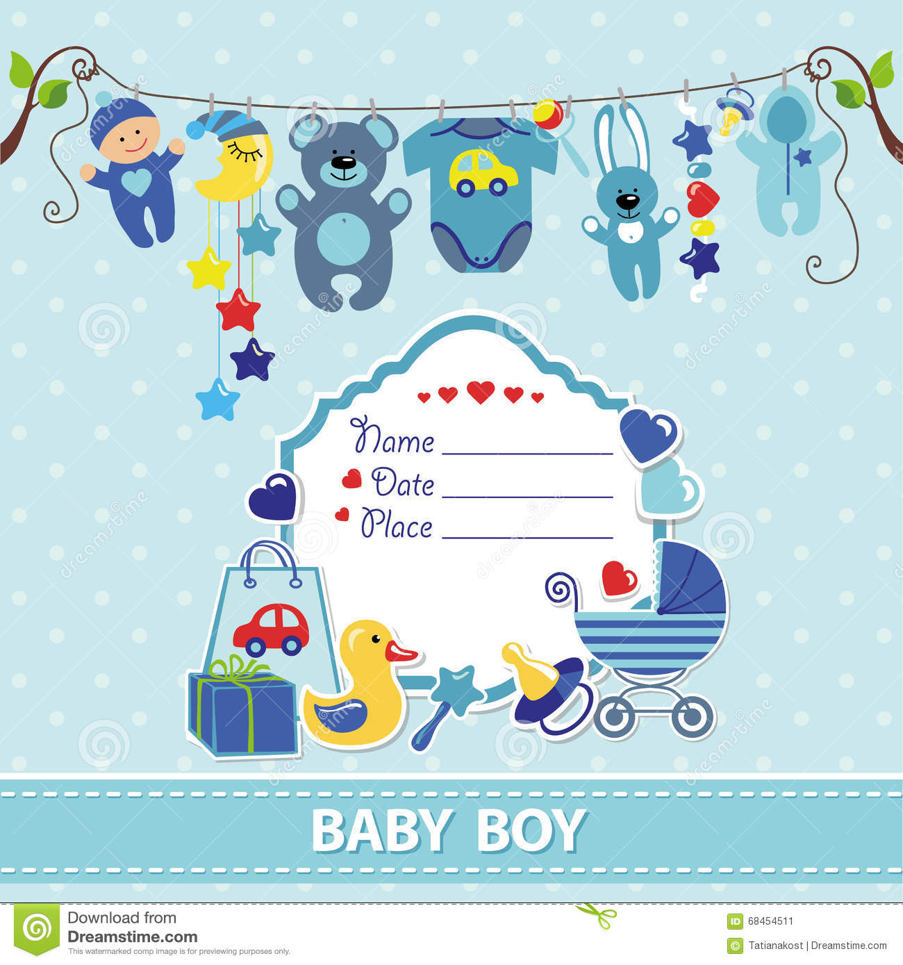New Born Baby Boy Card Shower Invitation Template Vector – Baby Boy Birth Announcements Templates