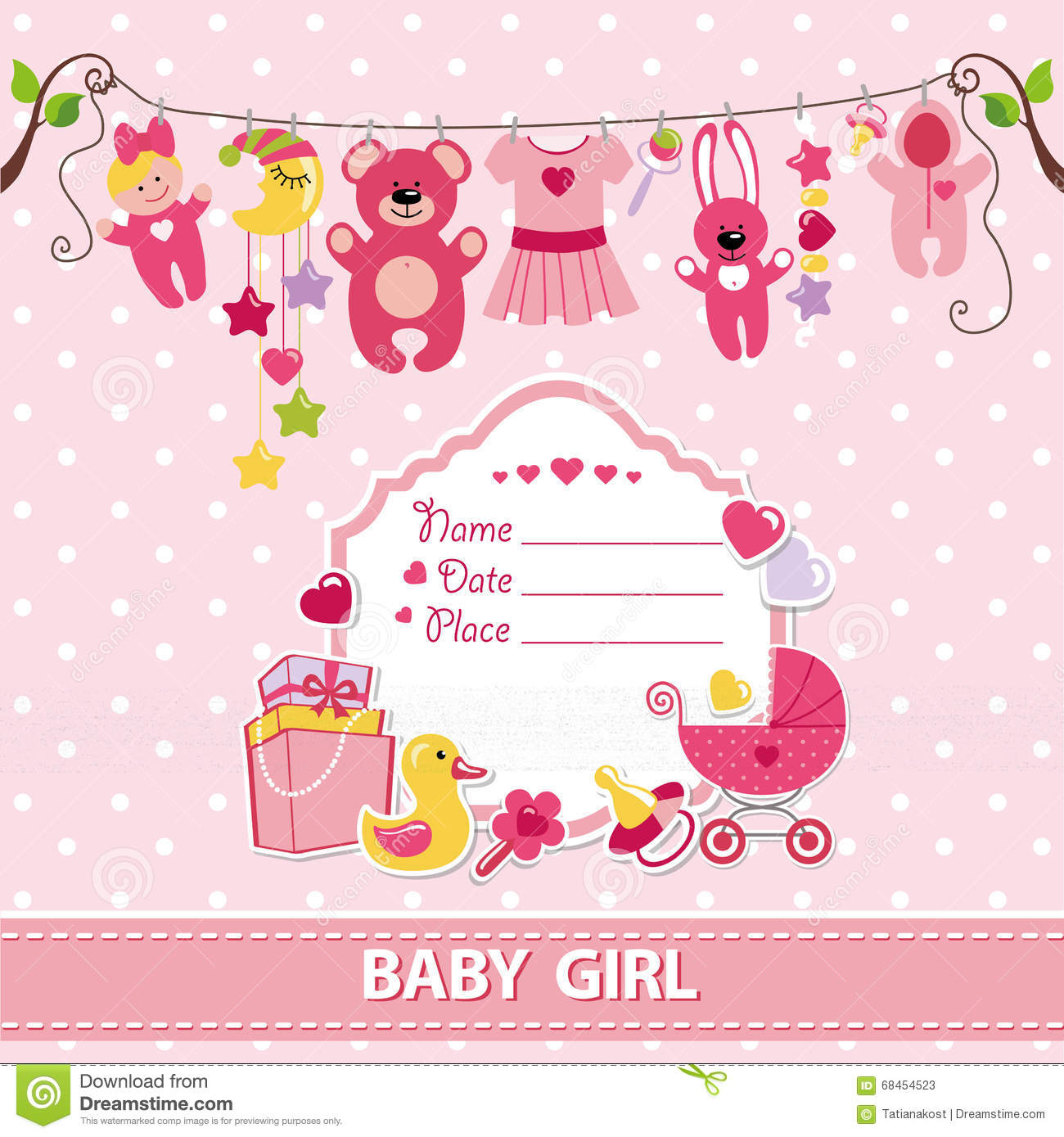 new born baby girl invitation shower card flat elements hanging on