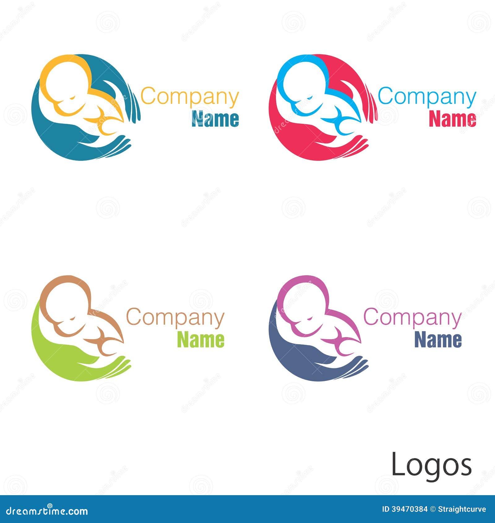 New born baby logo hand